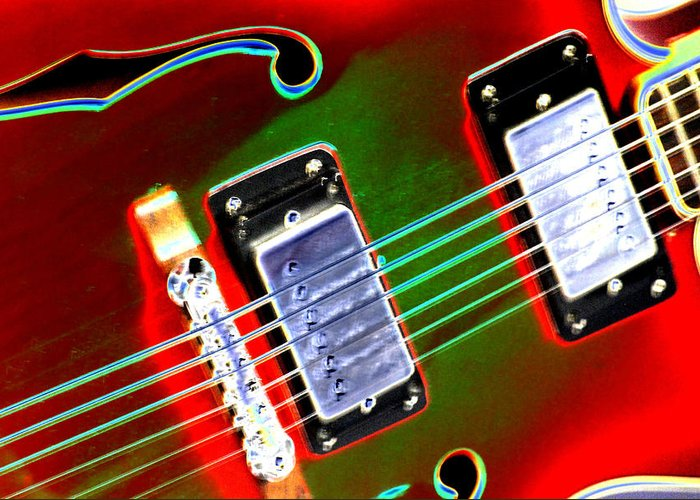 Guitar Greeting Card featuring the digital art Electric Guitar by Peter McIntosh