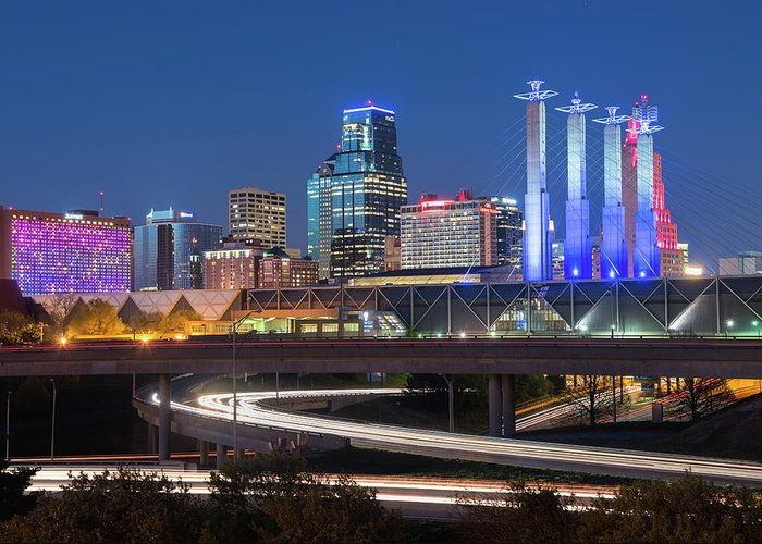 Kansas City Greeting Card featuring the photograph Electric Kc by Ryan Heffron