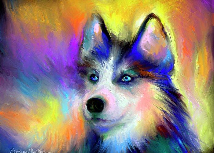 Siberian Husky Portrait Print Greeting Card featuring the painting Electric Siberian Husky Dog Painting by Svetlana Novikova