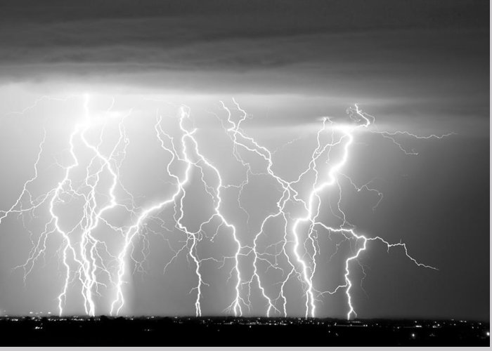 City Greeting Card featuring the photograph Electric Skies In Black And White by James BO Insogna