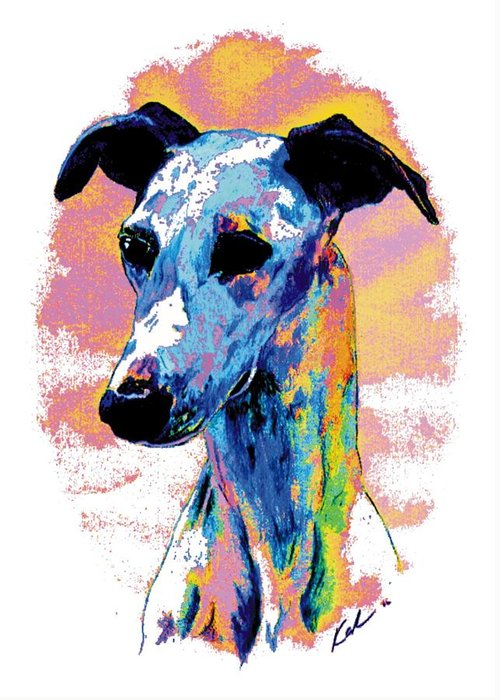 Electric Whippet Greeting Card featuring the digital art Electric Whippet by Kathleen Sepulveda