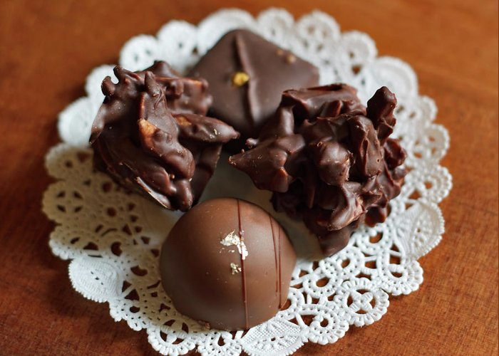 Truffle Greeting Card featuring the photograph Elegant Chocolate Truffles by Louise Heusinkveld