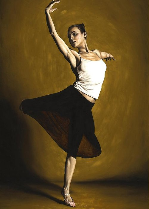 Elegant Greeting Card featuring the painting Elegant Dancer by Richard Young