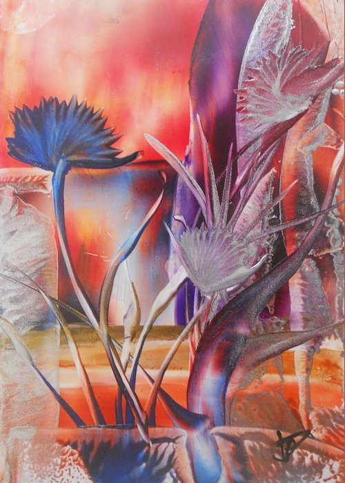 Abstract Floral Greeting Card featuring the painting Elegant by John Vandebrooke