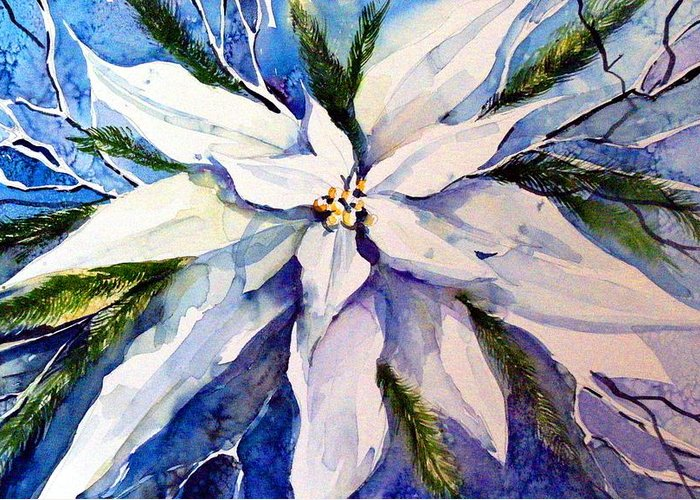 Christmas Greeting Card featuring the painting Elegant White Christmas by Mindy Newman