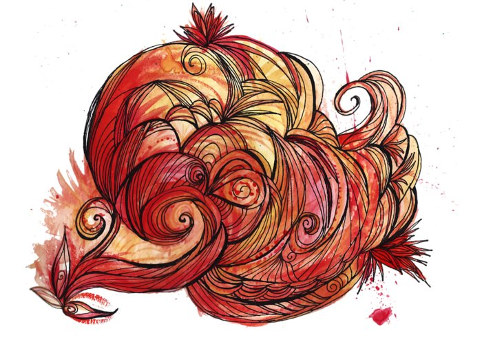 Watercolor Greeting Card featuring the mixed media Elements Of Fire by Cherisha Norman