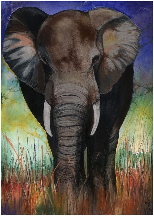 Elephant Greeting Card featuring the mixed media Elephant by Anthony Burks Sr