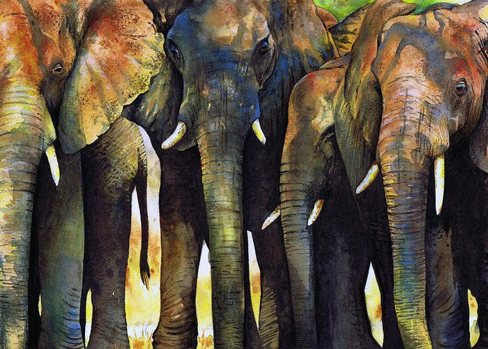 Elephant Greeting Card featuring the painting Elephant Herd by Paul Dene Marlor