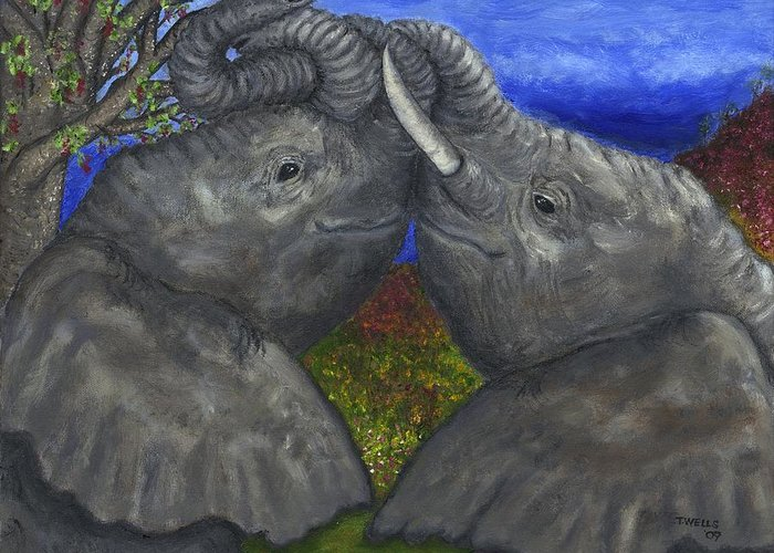 Elephants Greeting Card featuring the painting Elephant Hugs by Tanna Lee M Wells