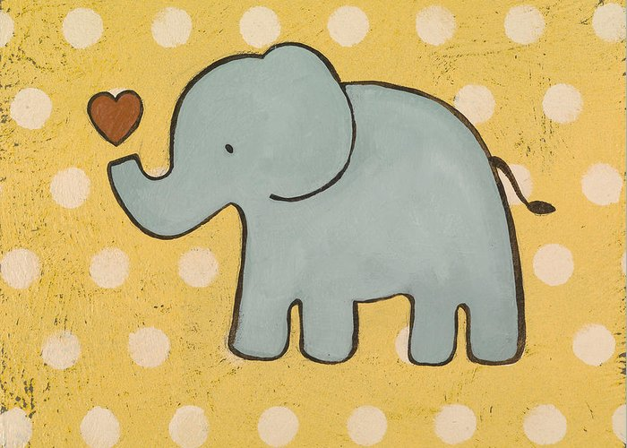 Elephant Painting Greeting Card featuring the painting Elephant Love by Bonnie Lecat