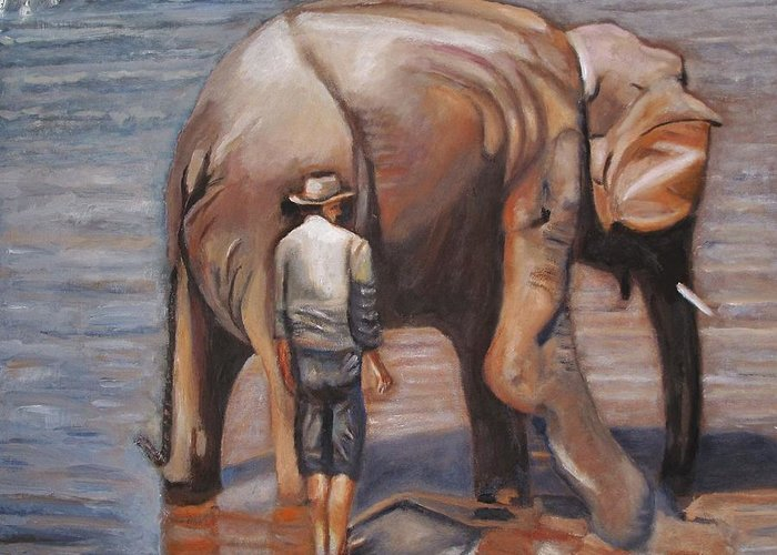 Elephant Greeting Card featuring the painting Elephant Man by Keith Bagg
