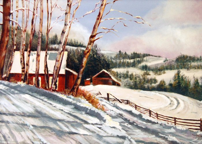 Snow Greeting Card featuring the painting Elephant Mountain Ranch by Susan Moore