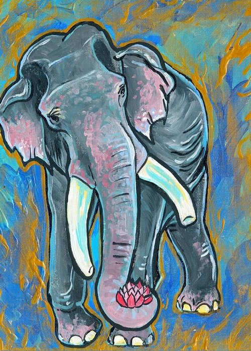Elephant Greeting Card featuring the painting Elephant Spirit Dreams by Jenn Cunningham
