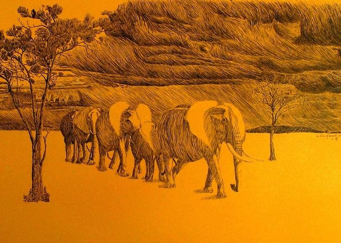 Africa Greeting Card featuring the drawing Elephant Walk by Dan Hausel