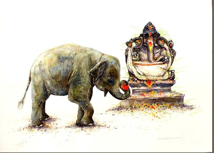 Painting Greeting Card featuring the painting Elephant With Ganesha by Siva Balan