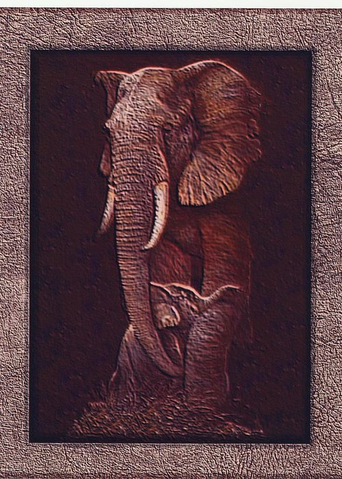 Elephants Greeting Card featuring the photograph Elephants by Robert Howard