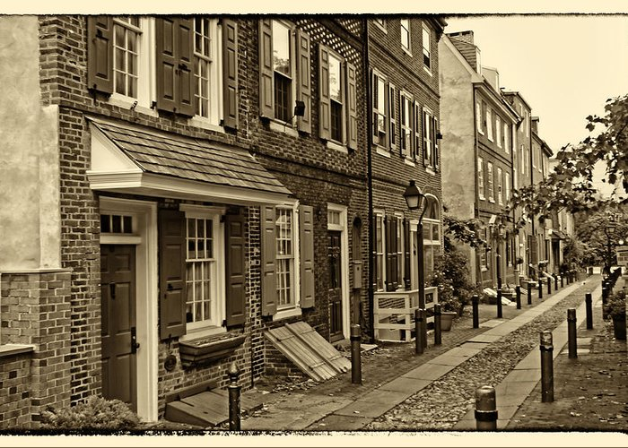 Philadelphia Greeting Card featuring the photograph Elfreths Alley by Jack Paolini