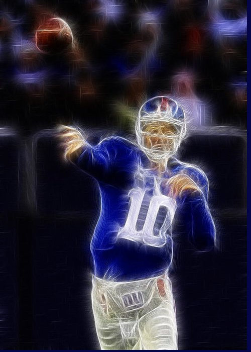Eli Manning Greeting Card featuring the photograph Eli Manning by Paul Ward