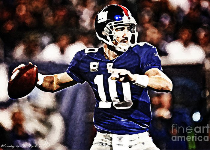 Nfl Greeting Card featuring the digital art Eli Manning by The DigArtisT