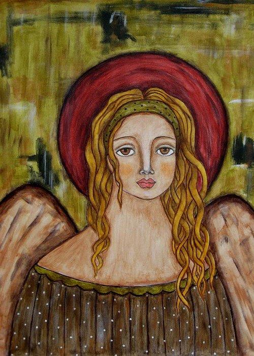 Folk Art Paintings Paintings Greeting Card featuring the painting Elijah by Rain Ririn
