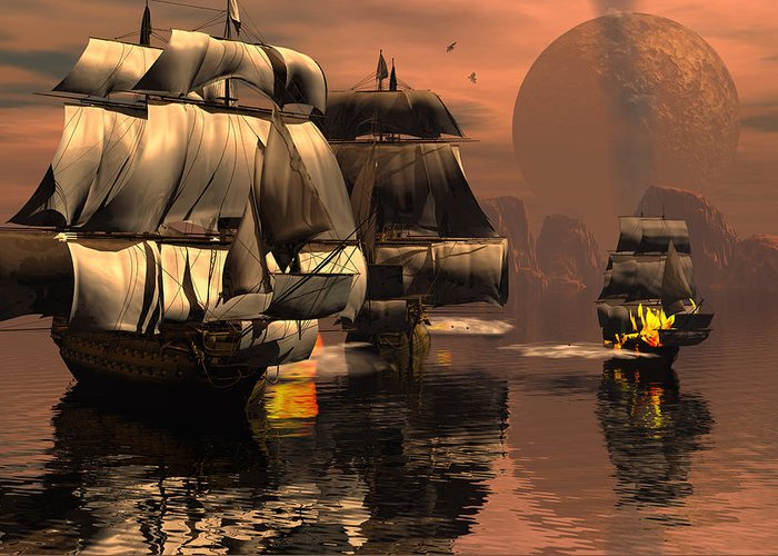 Bryce 3d Fantasy tall Ships Windjammer Battle Greeting Card featuring the digital art Eliminating The Pirates by Claude McCoy
