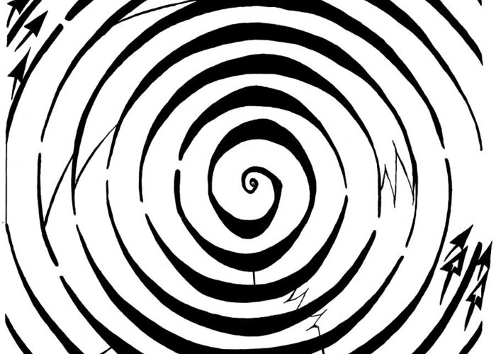 Maze Greeting Card featuring the drawing Eliptical Maze by Yonatan Frimer Maze Artist
