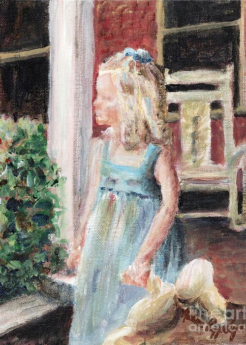 Girl Greeting Card featuring the painting Elizabeth Anne by Nadine Rippelmeyer