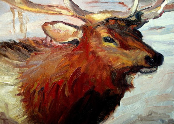 Animal Paintings Greeting Card featuring the painting ELK by Brian Simons