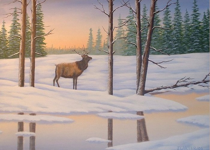 Elk Greeting Card featuring the painting Elk Carter by John Carter