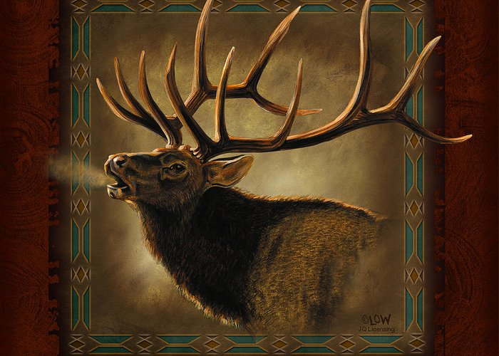Wildlife Greeting Card featuring the painting Elk Lodge by JQ Licensing