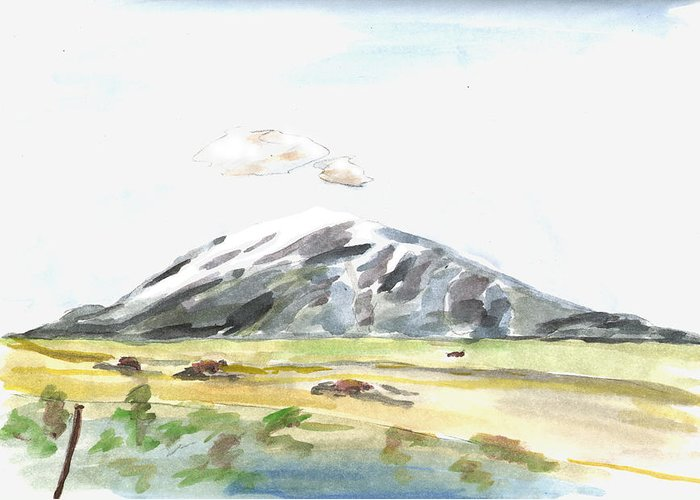 Kevin Callahan Greeting Card featuring the painting Elk Mountain Wyoming by Kevin Callahan