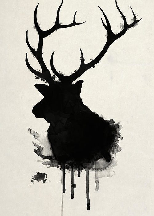 Elk Greeting Card featuring the drawing Elk by Nicklas Gustafsson
