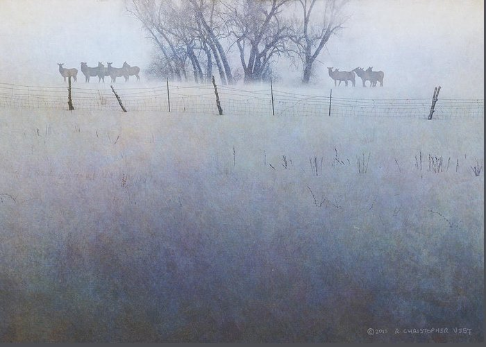 Art Greeting Card featuring the digital art Elk On The Hill by R christopher Vest