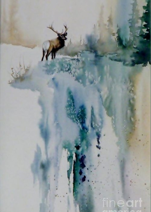 Bull Elk On Top Of Mountain Greeting Card featuring the painting Elk On Top by Lynne Parker