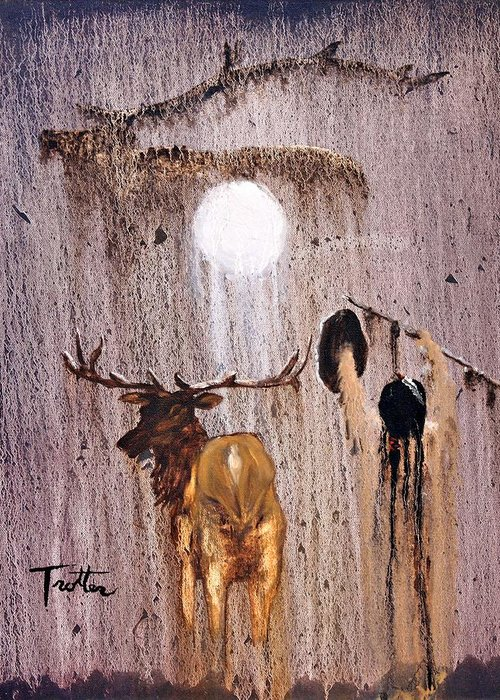 Native Art Greeting Card featuring the painting Elk Spirit by Patrick Trotter