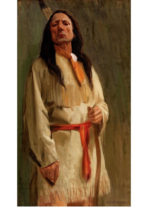 Eanger Irving Couse Greeting Card featuring the painting Elkfoot Of The Taos Tribe by Eanger Irving Couse