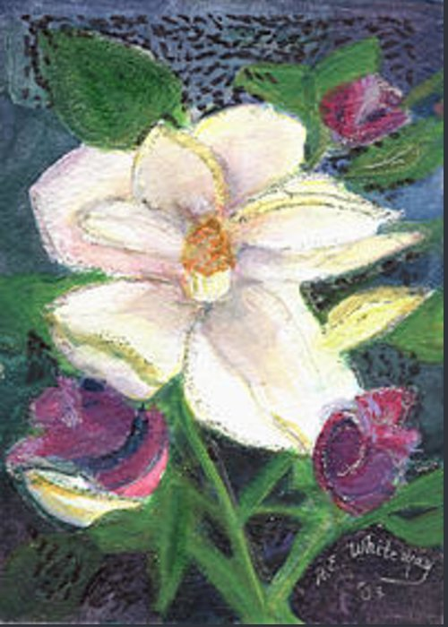 Greeting Card featuring the mixed media Ella's Flower by Anne-Elizabeth Whiteway