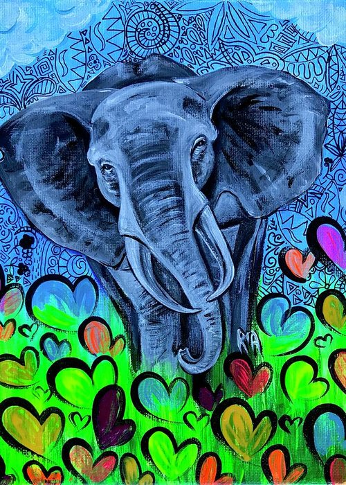 Elephant Greeting Card featuring the painting Elley by Artist RiA
