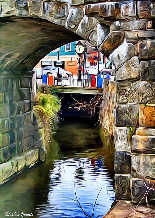 Ellicott Greeting Card featuring the digital art Ellicott City Bridge Arch by Stephen Younts