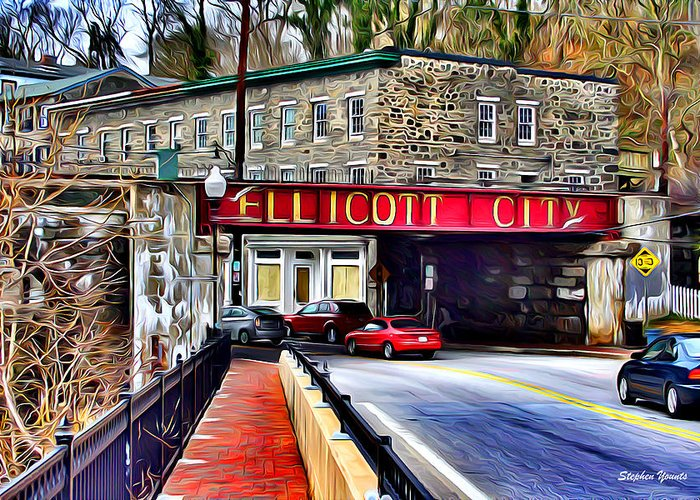 Ellicott Greeting Card featuring the digital art Ellicott City by Stephen Younts
