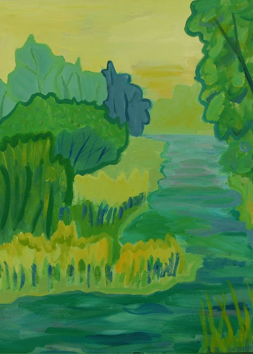 River Greeting Card featuring the painting Ellis River by Debra Bretton Robinson
