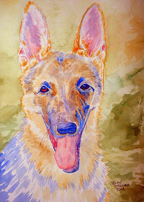 German Shepard Greeting Card featuring the painting Elmo - Watercolor by Donna Hanna