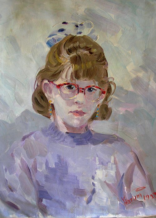 Portrait Greeting Card featuring the painting Elona by Ylli Haruni
