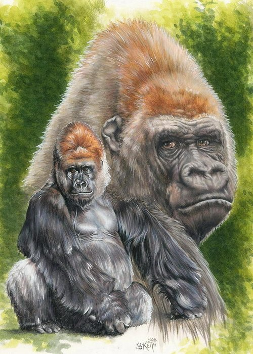 Gorilla Greeting Card featuring the mixed media Eloquent by Barbara Keith
