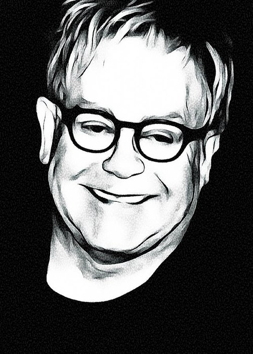 Elton Greeting Card featuring the digital art Elton John Black and White by Yury Malkov