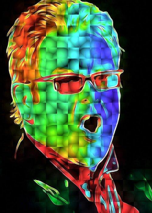 Elton Greeting Card featuring the digital art Elton John in Cubes 2 by Yury Malkov