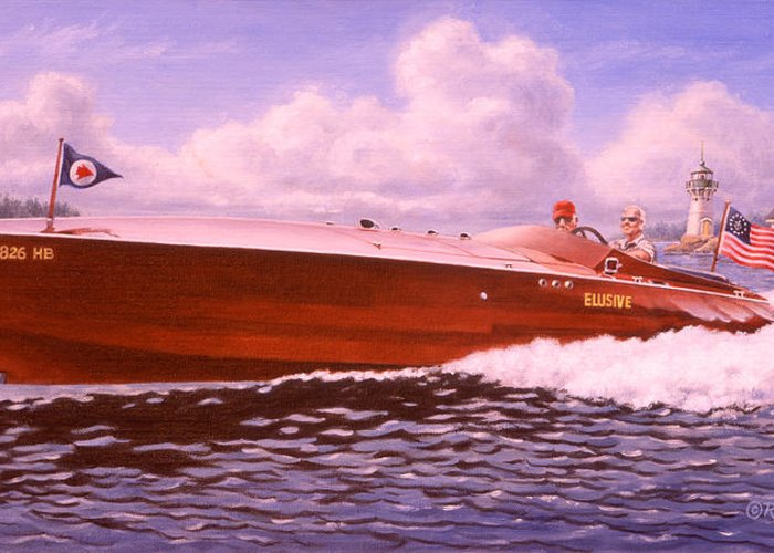 Boat Greeting Card featuring the painting Elusive by Richard De Wolfe
