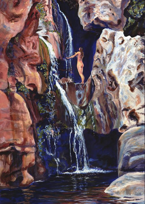 Landscape Greeting Card featuring the painting Elves Chasm by Page Holland