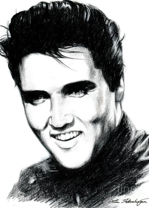 Elvis Greeting Card featuring the drawing Elvis by Lin Petershagen
