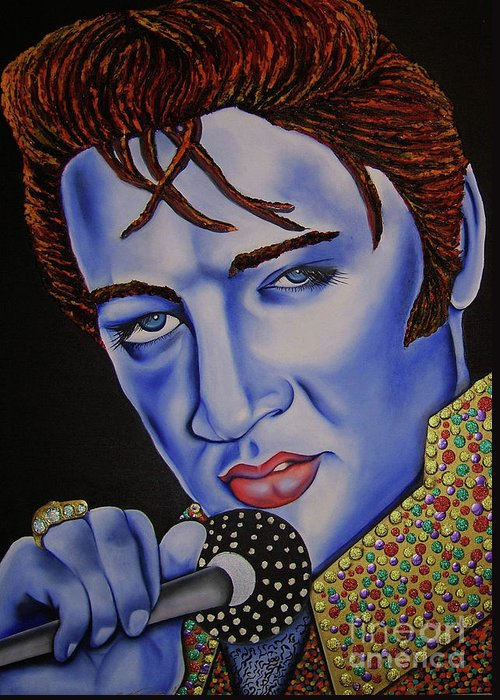 Portrait Greeting Card featuring the painting Elvis by Nannette Harris